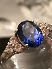 Estate Alwand Vahan blue sapphire & white topaz ring 925 sterling silver - rare