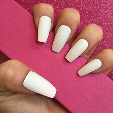 Hand Painted Full Cover False Nails. Coffin Matte White Nails. 24 Nail Set.