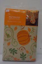 Vinyl Tablecloth Pumpkin Halloween Thanksgiving Decor Design 60 x 84 in NEW I1
