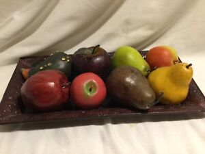 Metal Tray with Faux Fruit and Vegetables Vintage