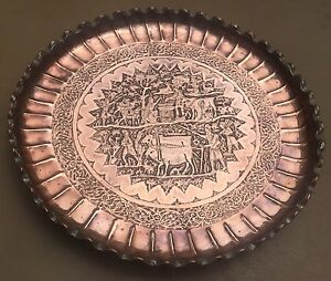 Magnificent Vintage  qalamzani  Copper Tray / Table / plate