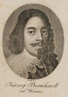 LIPS, Bildnis des Herzog Bernhardt von Sachsen-Weimar, 18. Jh., Kupferstich