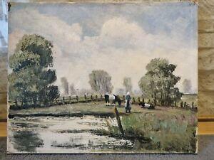 altes Ölbild Impressionismus Landschaft Kühe Figur 30,5 x 24,5