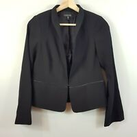 [ EILEEN FISHER ] Womens Black Leather Trim Jacket | Size AU 8 or US 4