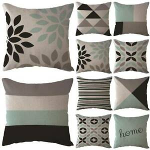 Outdoor Geometric Garden Throw Pillow Case Cushions Cover Plaid Bench Room Homes