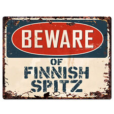 Ppdg0105 Beware of Finnish Spitz Plate Rustic Tin Chic Sign Decor Gift