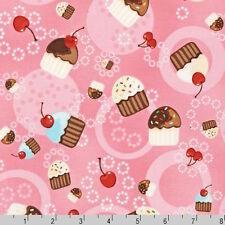 Robert Kaufman Cupcakes Cherry Pink Fabric