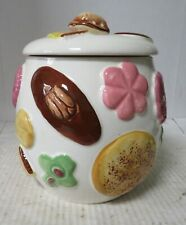 NAPCO Cookie Jar~ Decorated with Hand Painted Cookies and Walnut Handle