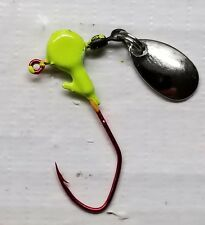 20ct. 1/8oz. Green Chartreuse spinner jig w/#1 red Eagle Claw Lil' Nasty hook