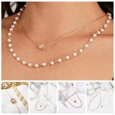 Fashion Bohemian Simple Pearl Crystal Pendant Gold Chain Necklace Jewelry Gifts