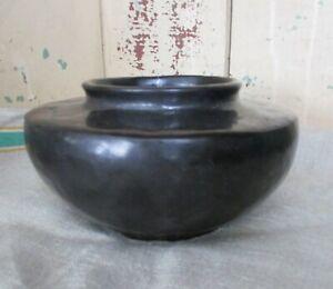 "Vintage Black Fulper Squat Vase Antique Art Pottery  6 1/2""  Matte glaze Planter"
