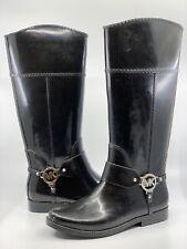 Michael Kors Women's Black Tall Rubber Rain Boots Shoes Shiny Patent Size 8