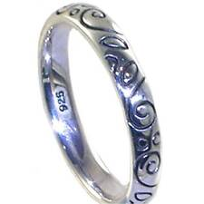 BALI_ ELEGANT ENGRAVED SCROLL STACK RING SZ 7___925 Sterling Silver
