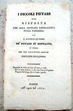 1832 CAPECE MINUTOLO PAMPHLET REAZIONARIO CONTRO LA CARBONERIA I PICCOLI PIFFARI