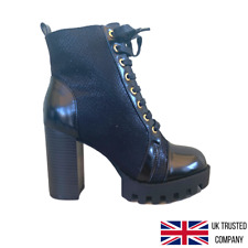 Ladies Womens Chunky  Retro Platform Lace Up Punk Icon Ankle Boots Shoes Heel