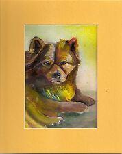 Dog ART Portrait chow puppy 5x7 FREE mat Original Acrylic Painting Penny StewArt
