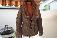 KHUJO Damen Winter Jacke Parka Mantel Steppjacke Fell kragen Gr.M khaki TOP #96