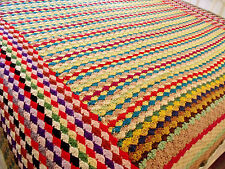 """Vtg Boho Hippie Funky Chic Multi Colored Shell Crocheted Afghan Spread 76""""x86"""""""