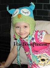 Babies owl hat green/blue,boy or girl,Cute Owl Handmade Knit Crochet hat 12 mo-3