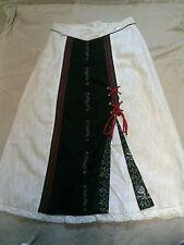 AB STUNNING black/beige/red LONG/MAXI skirt 42-14/16 SPIETH &WENSKY VGC pt LINEN