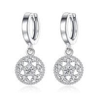 925 Sterling Silver Earrings Round Crystal Flower Drop Style Women Jewelry