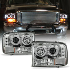 1999-2004 Ford F250 F350 F450 SuperDuty LED Halo Projector Headlights Headlamps