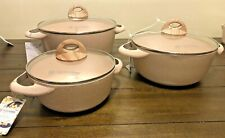 "NEW Masterclass Pink Speckled Casserole 8""  9.5 11 Pan Cookware With Lid Cooking"