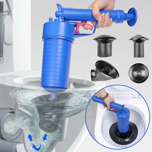 NEW Pressure Pump Cleaner Unclogs Toilet Hand Powered Plunger Set