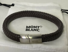 Montblanc Contemporary Woven Brown Leather & Stainless Bracelet magnetic closer