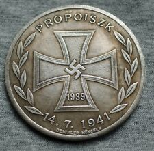 WW2 GERMAN COIN SS PANZER DIVISION 1941 HITLER EXONUMIA WITH IRON CROSS 1939