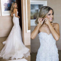 New White Strapless Lace Applique Wedding Dress Formal Bridal Ball Gowns Custom