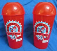 TWO NEW ICEE SLURPEE LARGE CUPS W/ LIDS VINTAGE COLLECTABLE OLD SCHOOL 1967