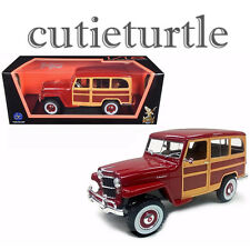 Road Signature 1955 Willys Jeep Station Wagon 1:18 Diecast Model 92858 Burgundy