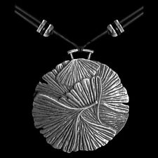 GINKGO Oberon Design PEWTER NECKLACE hand-cast pendant gingko leaves PNN45
