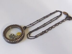 ORIGAMI OWL Brown tone, 3- Charm Locket & Chain Necklace,
