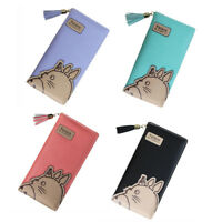 Anime Totoro Zipper Leather Long Purse Ladies Clutch Bag Wallet Card Holder