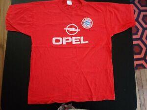 Vintage Opel F.C. Bayern Munchen Red Size XL T-Shirt Soccer Jersey VTG RARE NICE