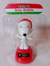 Disney Holiday Christmas Peanuts Snoopy Solar Bobble Head Table Top Dashboard