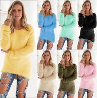 Jumper Women's Tops Long Ladies Pullover Sleeve Sweater Blouse Fluffy Sweatshirt