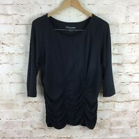 Soft Surroundings Womens Ruched Front Black Jersey Knit Top Size Medium