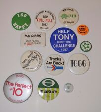 13 Vintage Pinback Advertising Slogan Buttons - Seagate, ISO, Amtrak, Sears