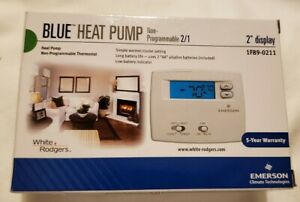 """Emerson White Rodgers 1F89-0211 Blue 2"""" Thermostat, Heat Pump, Non-Programmable"""