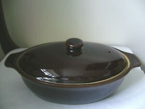 DENBY HOMESTEAD BROWN OVAL LIDDED CASSEROLE/SERVING DISH 2ND QUALITY GOOD USED P