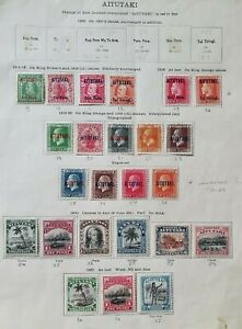 Aitutaki Selection of 1912 - 1927 MH on Album Page