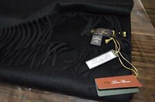 "NEW Loro Piana Black 100% Cashmere LONG Mens Scarf Made in Italy 72"" x 17"" NWT"