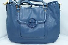 New Tory Burch Amanda Classic Handle Hobo Bag Blue Tote Leather