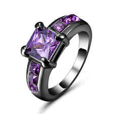 Size 8 Amethyst Rare Luxury 10K Black Gold Filled marry Fashion Rings