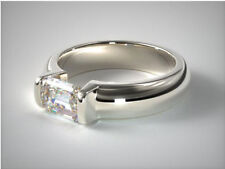 2.00 ct Emerald Cut Near White Moissanite 925 Sterling Silver Solitaire Ring