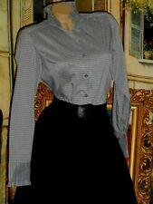 USA M High Collar Blouse Gray Gingham Ruffle Cotton Nylon Stretch NWOT