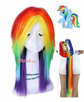 My Little Pony Rainbow Dash Cosplay Wig Multi Color Tail Set Hair Wigs Halloween